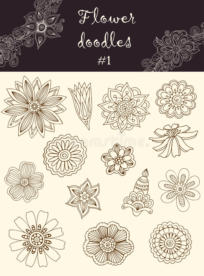 Free Vector Set 1: Doodle Flowers. Series Of Doodles. Royalty Free Stock Image - 40560336