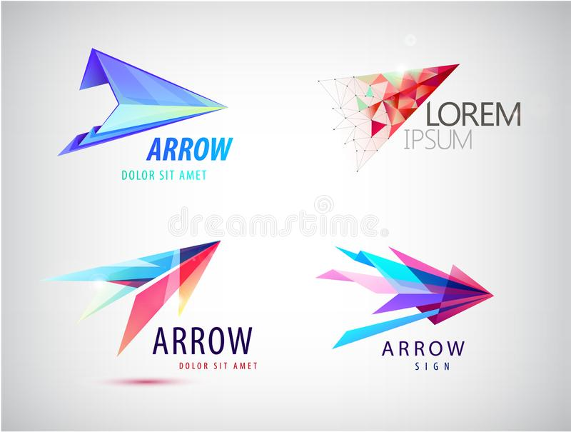 Vector set of abstract arrow logos, icons isolated. Point logo, web abstract, direction royalty free stock photo