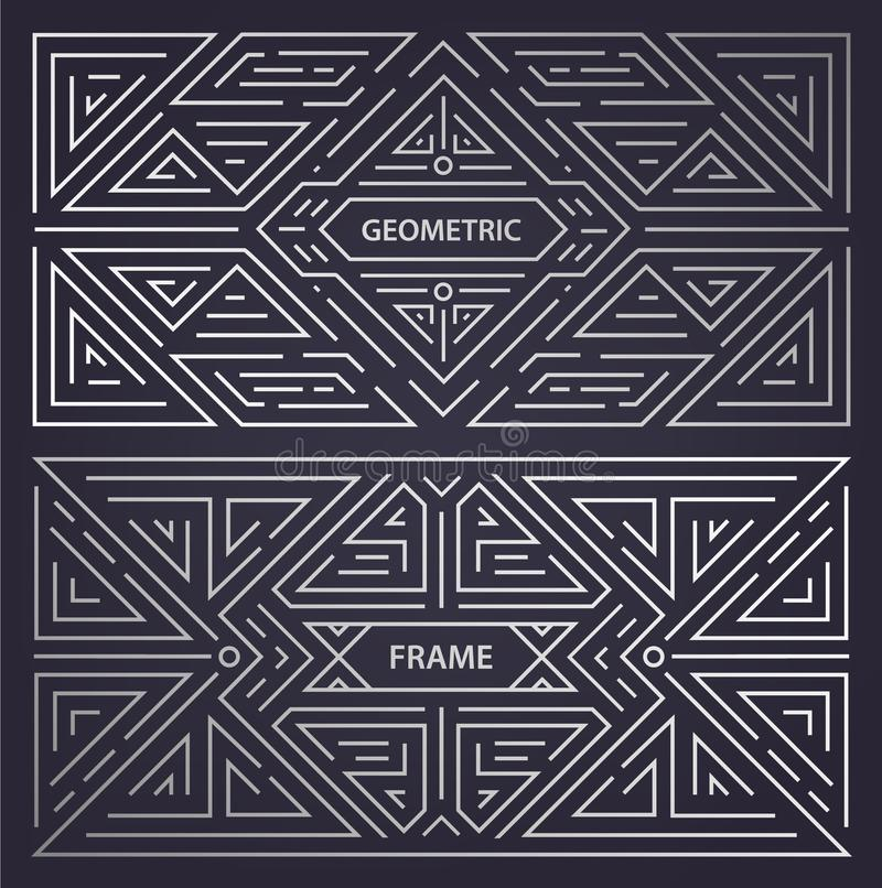 Vector set of abstract art deco frames. Linear modern style, monogram geometric banners, luxury packaging design, poster vector illustration