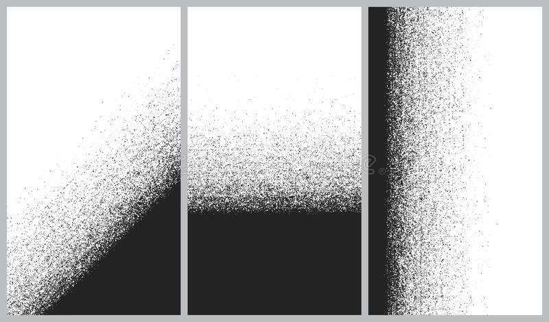 Vector set of abstract backgrounds, Destruction of the line splitting particles, Black and White dust explosion dark noise stock illustration