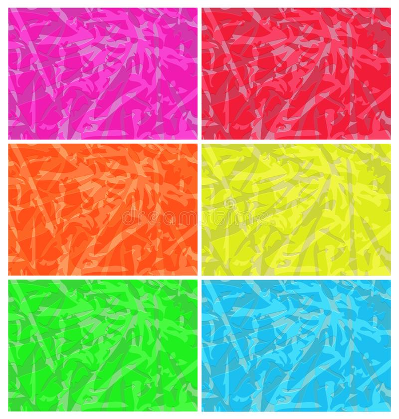Vector set of abstract backgrounds yellow orange blue red green royalty free illustration
