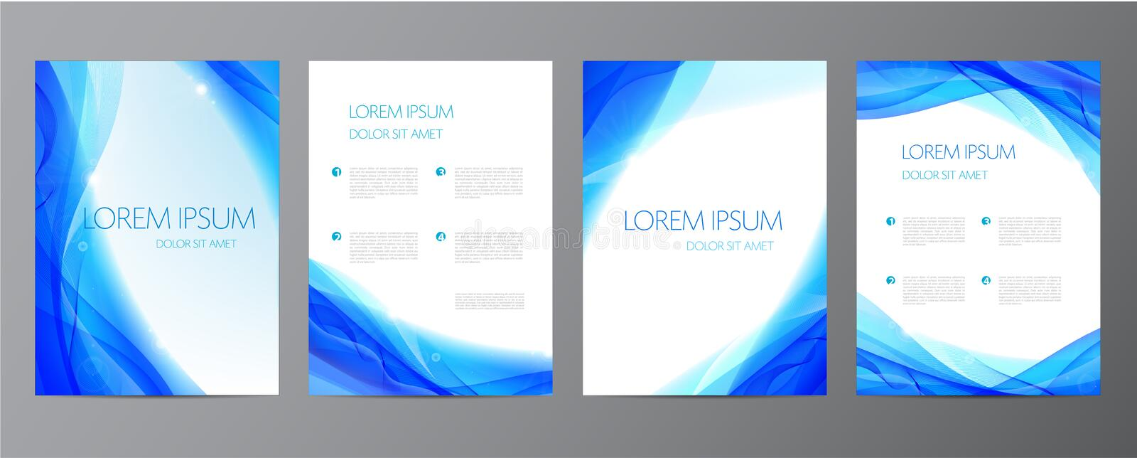 Vector set of abstract blue annual report templates, water covers, wavy background. Flyers, brochures royalty free illustration