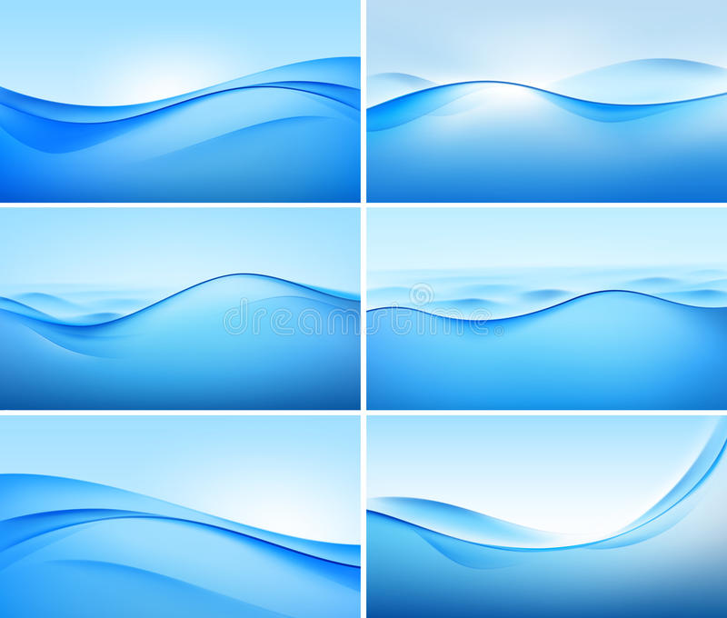 Vector Set of Abstract Blue Wave Backgrounds royalty free illustration