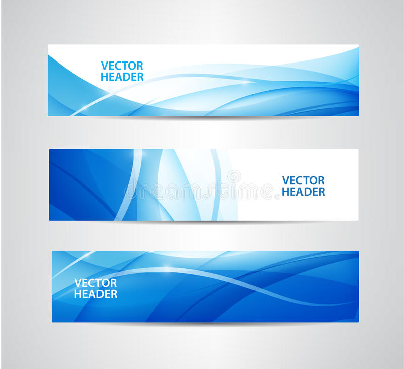 Vector set of abstract blue wavy headers, water flow banners. Use for web site, ad, brochure, flyer vector illustration