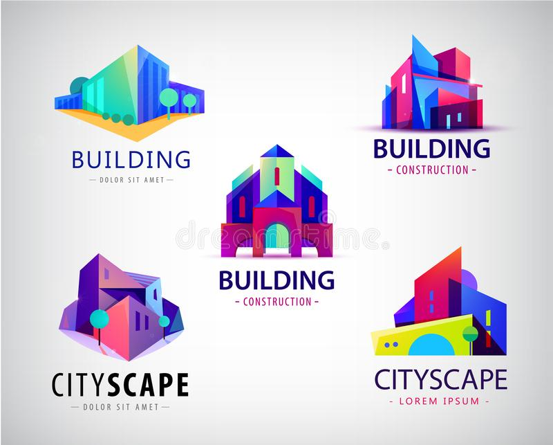 Vector set of abstract colorful city, building composition sign, icon, logo isolated. Real estate, modern cityscape 3d vector illustration