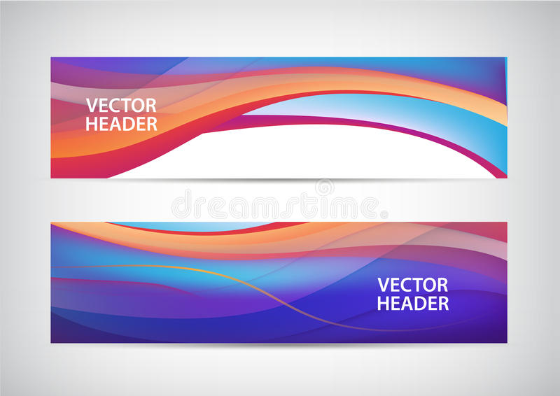 Vector set of abstract colorful wavy headers, water flow banners. Use for web site stock illustration