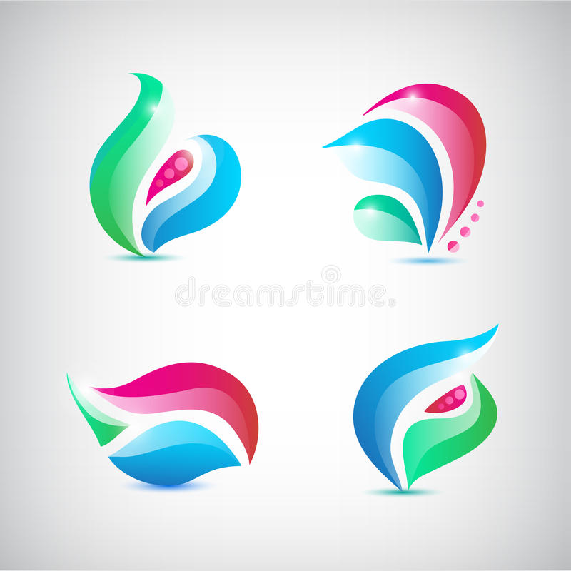 Vector set of abstract floral icons stock illustration