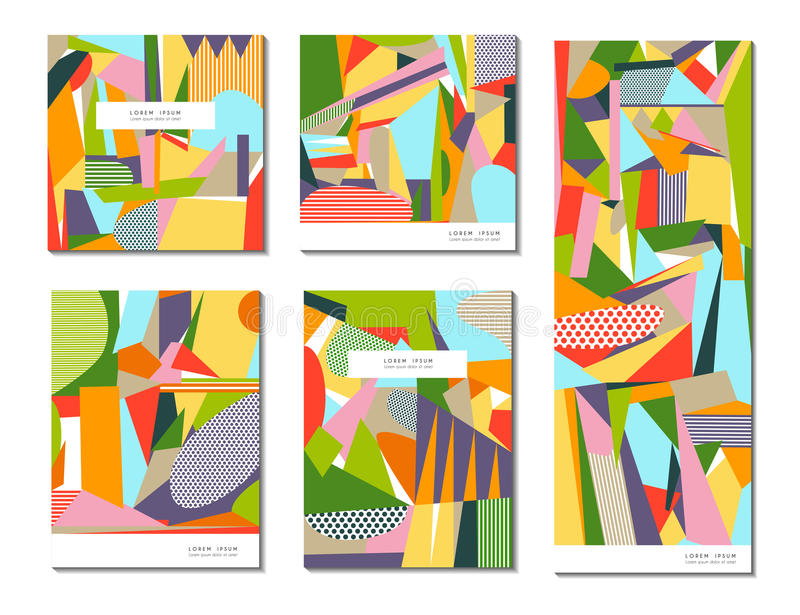 Vector set of of abstract geometric cards vector illustration
