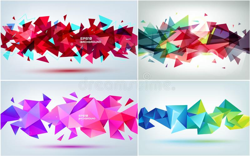 Vector set of abstract geometric 3d facet shapes. Use for banners, web, brochure, ad, poster, etc. Low poly modern style royalty free stock photography