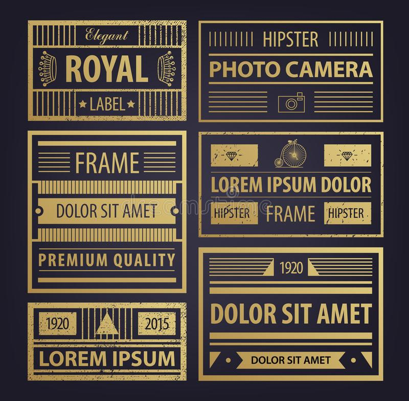 Vector set of abstract golden hipster badges, retro style, textured with icons. Frames for design business cards vector illustration