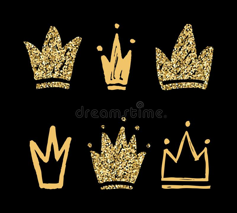 Vector set of abstract golden silhouettes of crowns royalty free illustration