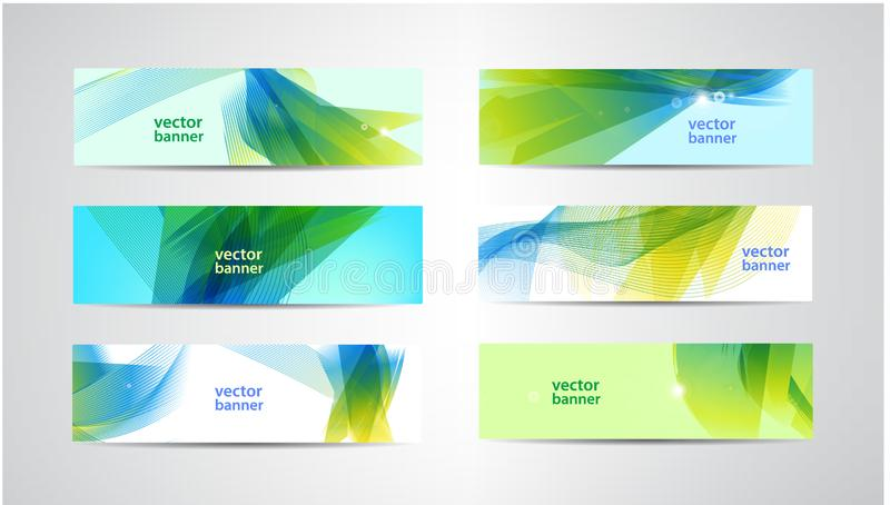 Vector set of abstract green and blue banners. Wavy, sunny summer background vector illustration