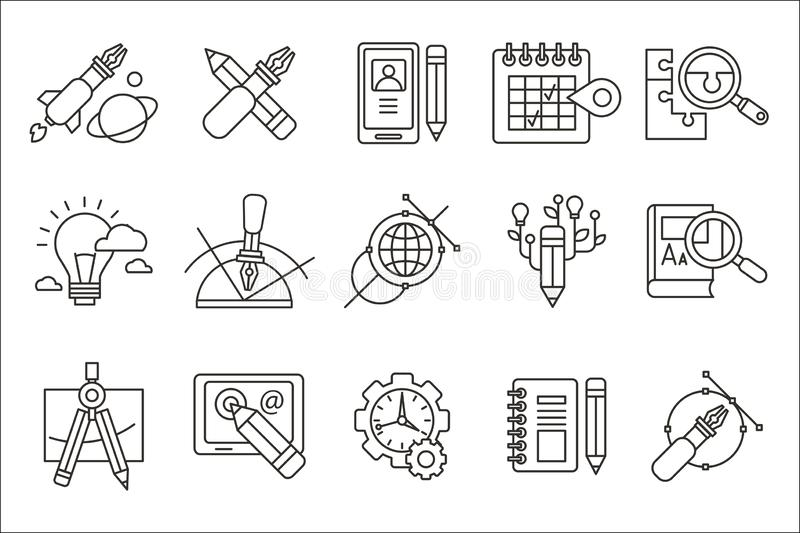 Vector set of abstract line art icons. Digital design and creative production. Web and software development, education vector illustration