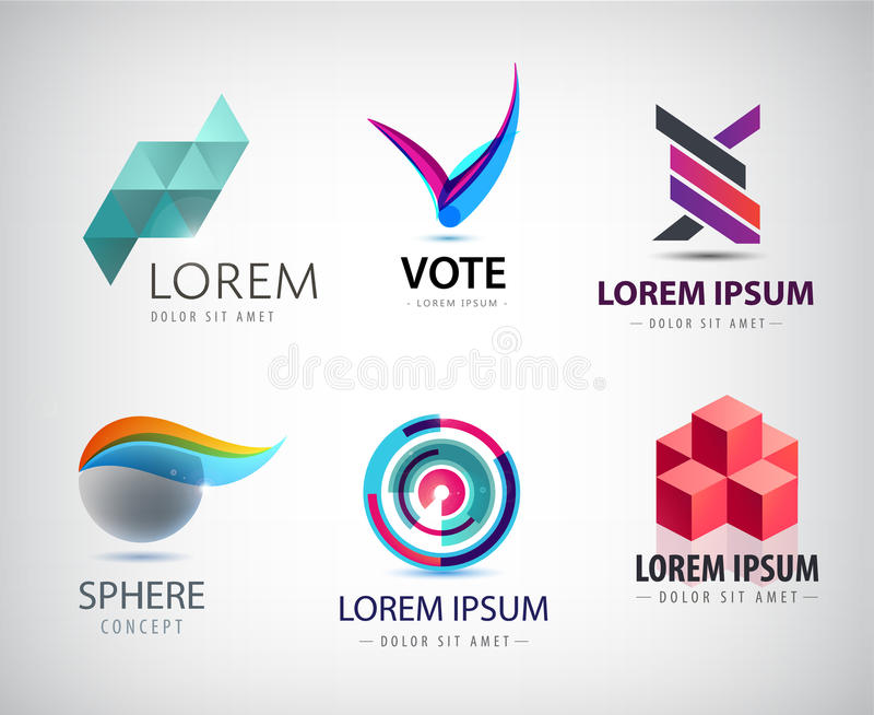 Vector set of abstract logo design web icons 3d templates vector set of abstract logo design web icons 3d templates colorful symbols for company identity ad website geometric sphere origami business logos flashek Images