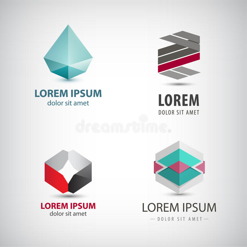 Download Vector Set Of Abstract Origami Logos Crystal Faceted Paper Icons Isolated