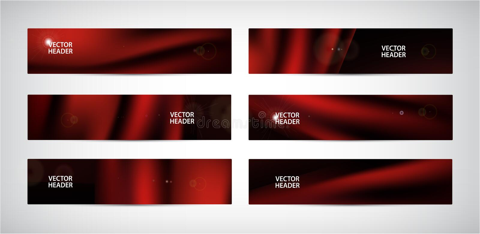 Vector set of abstract red wavy banners. Silk, satin flying fabric, curtain on black background stock illustration