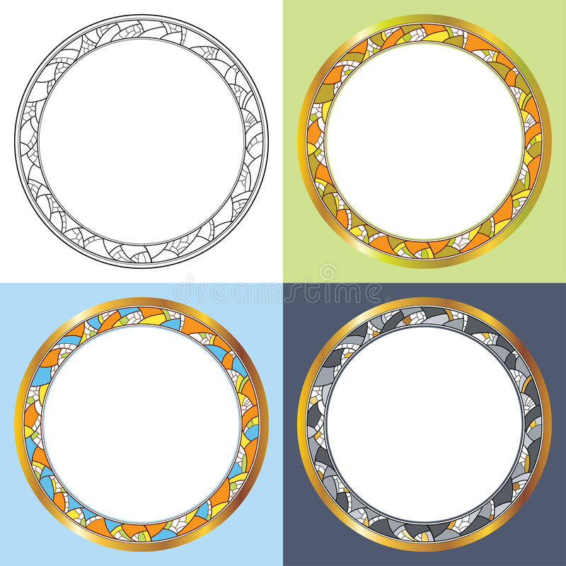 Vector Set With Abstract Round Frames. Golden Rim, Decorative Mosaic ...