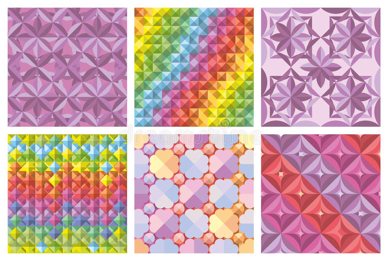 Vector set of abstract seamless patterns and backgrounds royalty free illustration