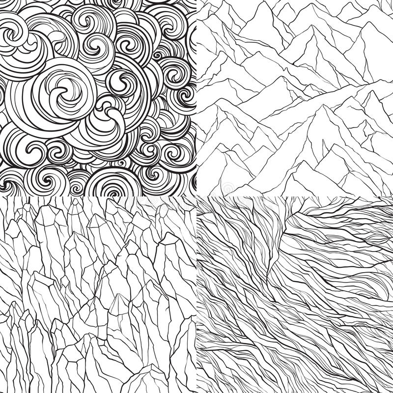 Vector set of abstract seamless patterns. Vector set of seamless patterns with mountains, crystal stones, curls and lines. Contour illustrations vector illustration