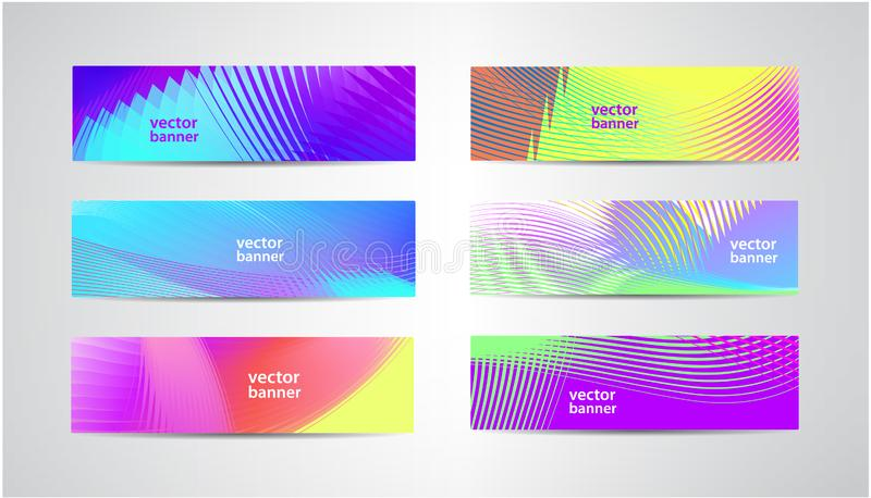 Vector set abstract summer banners. Minimal design, colorful halftone gradients. royalty free illustration