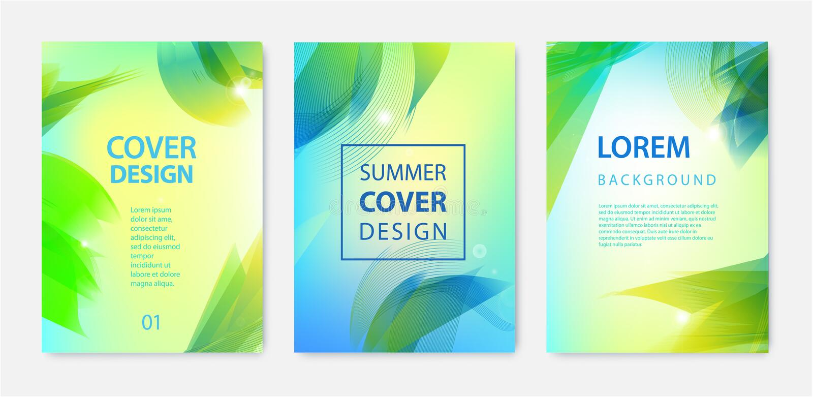 Vector set of abstract summer covers, posters, flyers, brochures. Wavy, sunny, palm leaves holiday design stock illustration