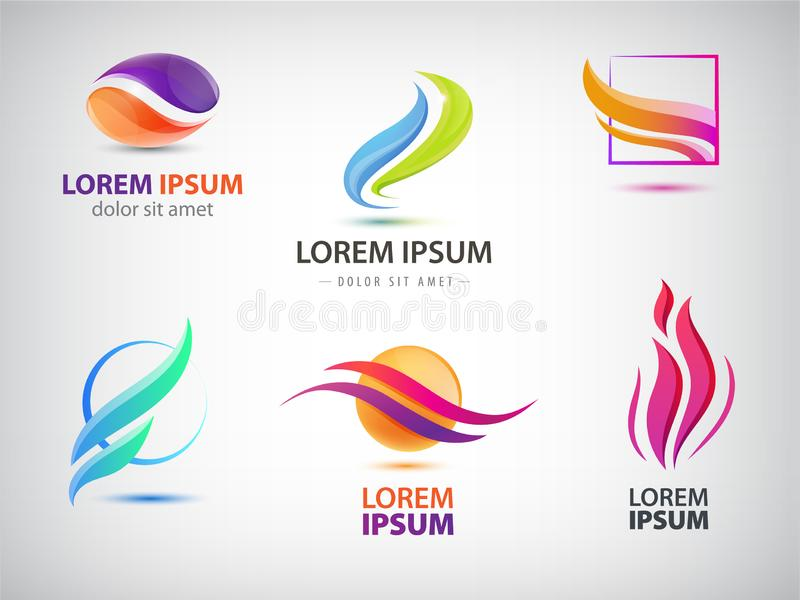 Vector set of abstract wavy energy, power, technology, fire logos. Solar Energy and Renewable. Technology icons royalty free illustration
