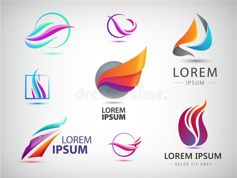 Vector set of abstract wavy energy, power, technology, fire logos. Solar Energy and Renewable. Technology icons stock illustration