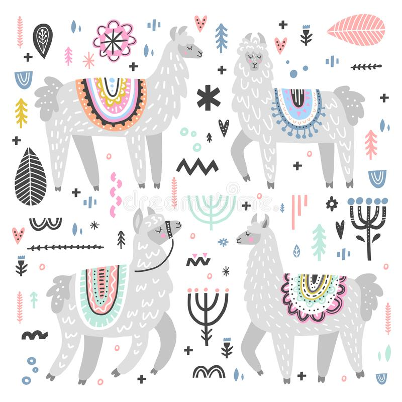 Lama Vector Set. Vector set of adorable lamas. Hand drawn style. Ideal for greeting cards, invitations, children room decoration, etc stock illustration
