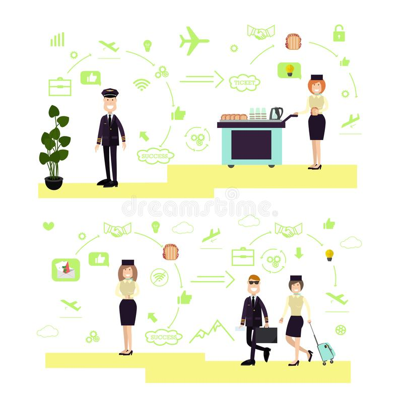 Vector set of airport people symbols, icons in flat style. Vector illustration of pilots and stewardess with airline food trolley. Airport people symbols, icons royalty free illustration