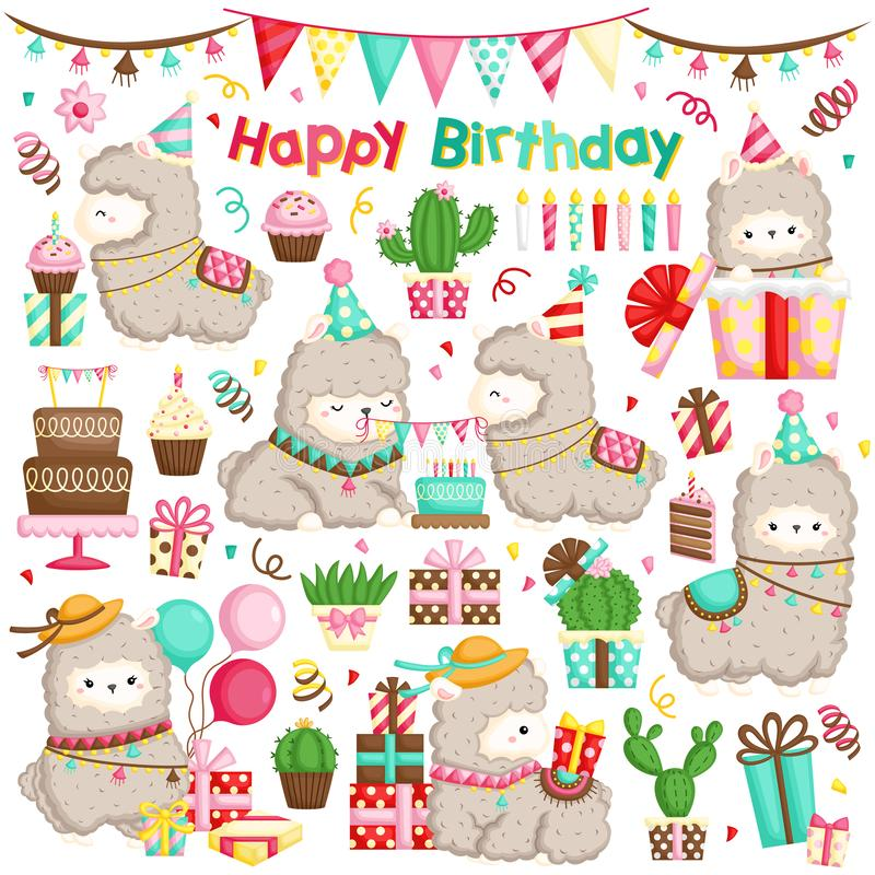 A Vector Set of Alpaca Celebrating Birthday with Cakes and Many Gifts royalty free illustration