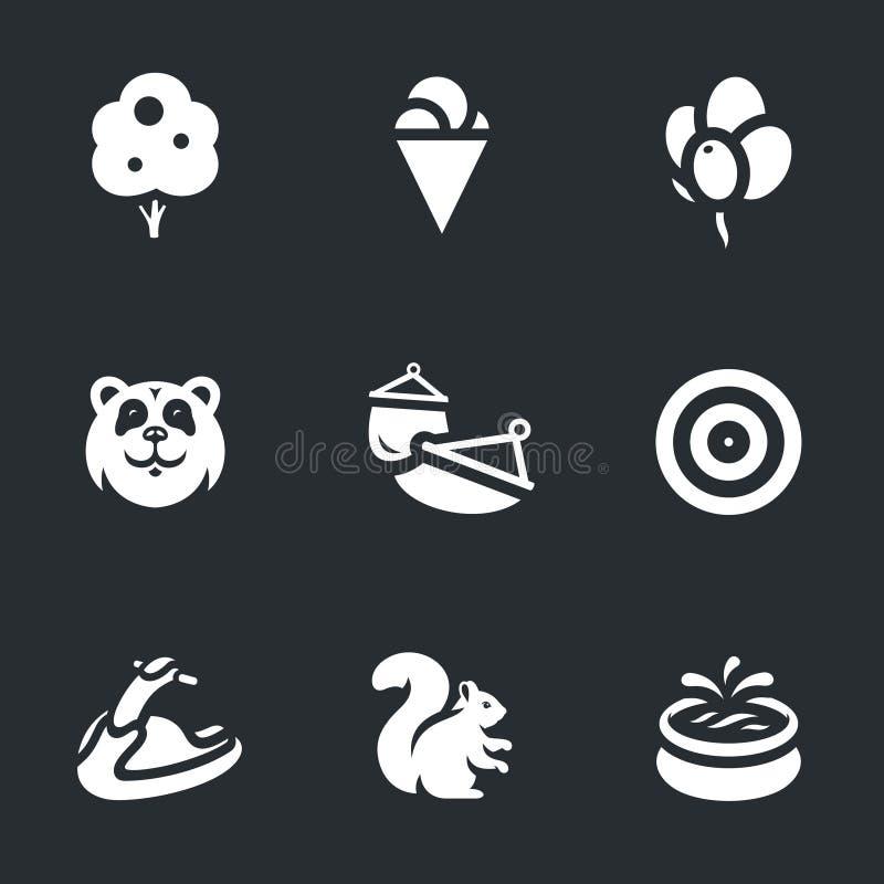 Vector Set of Amusement park Icons. Tree, ice cream, balloons, koala hammock target jetski protein pool stock illustration