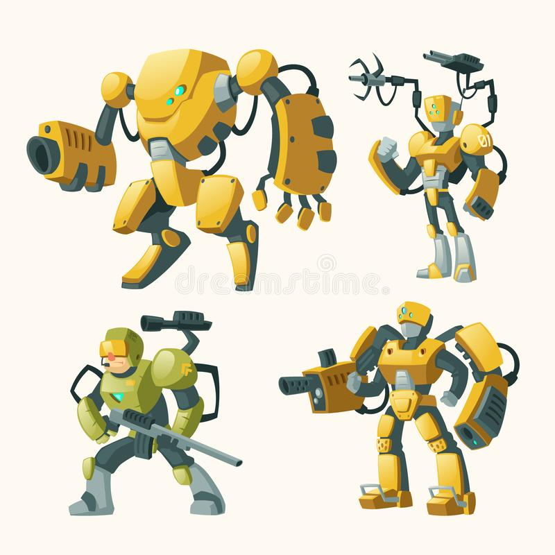 Vector set with androids, robots, cyborg humanoids stock illustration