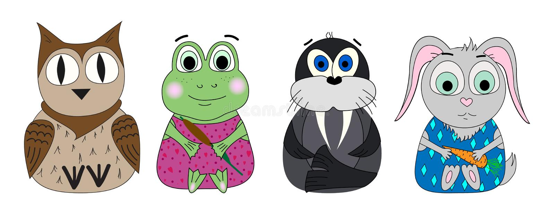 Vector set of animals. Owl, frog, walrus, rabbit Cartoon print, cute print. royalty free illustration