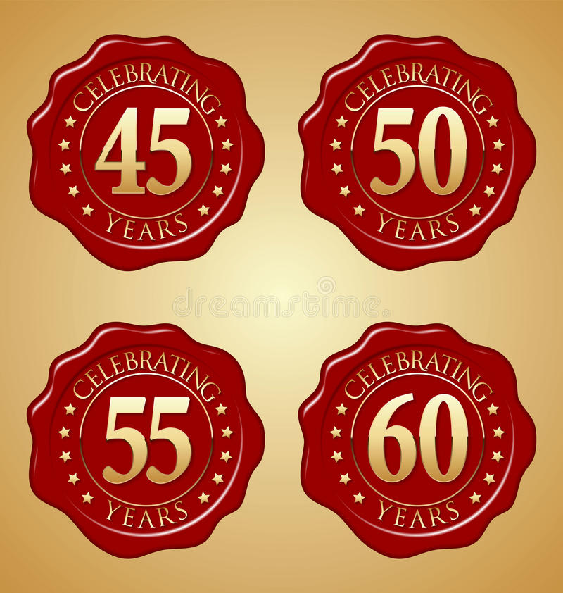 Vector Set of Anniversary Red Wax Seal 45th, 50th, 55th, 60th vector illustration