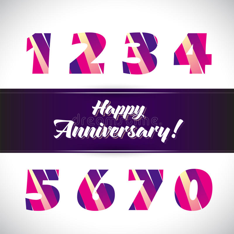 Vector set of anniversary signs, symbols. vector illustration
