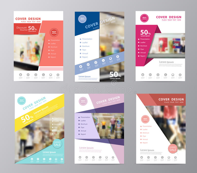 Vector set of annual report brochure displaying fashion for Fashion brochure templates