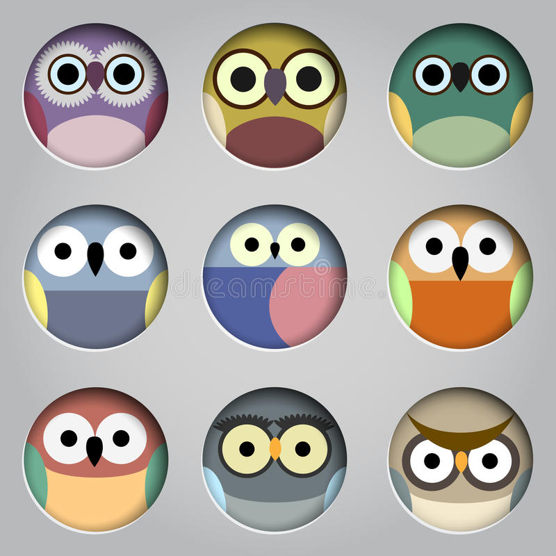 Vector set of app icons cute owls vector illustration