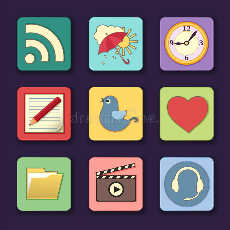 Download Vector Set Of Apps Icons In Bright Colors Stock Vector - Illustration of button, interface: 28152875