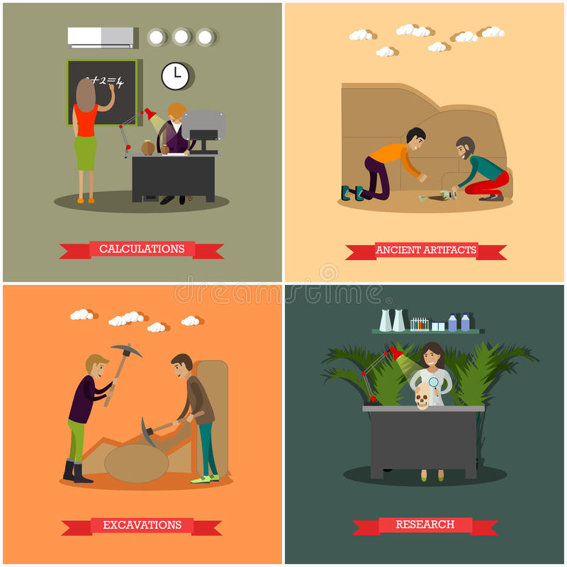 Vector set of archaeological excavations concept posters in flat style. Vector set of archaeological excavations concept posters. Calculations, Ancient artifacts vector illustration