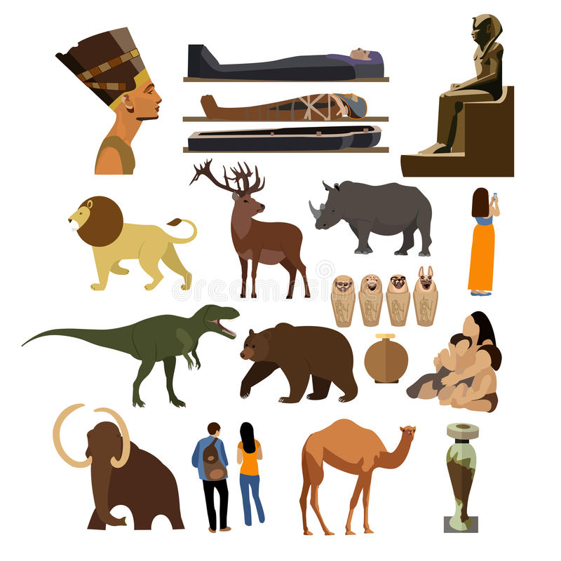 Vector set of Archaeological museum displays isolated on white background. History museum exhibition. Antique museum of paleontology icons and design elements vector illustration