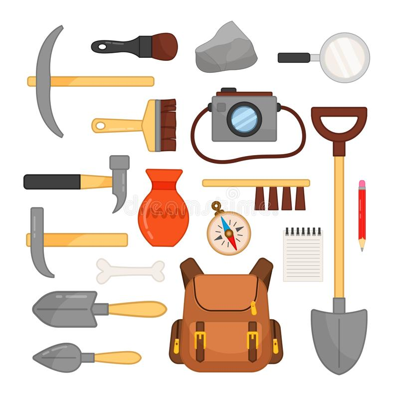 Vector set of archaeological tools. Hammers, brushes, camera and other archaeological objects stock illustration