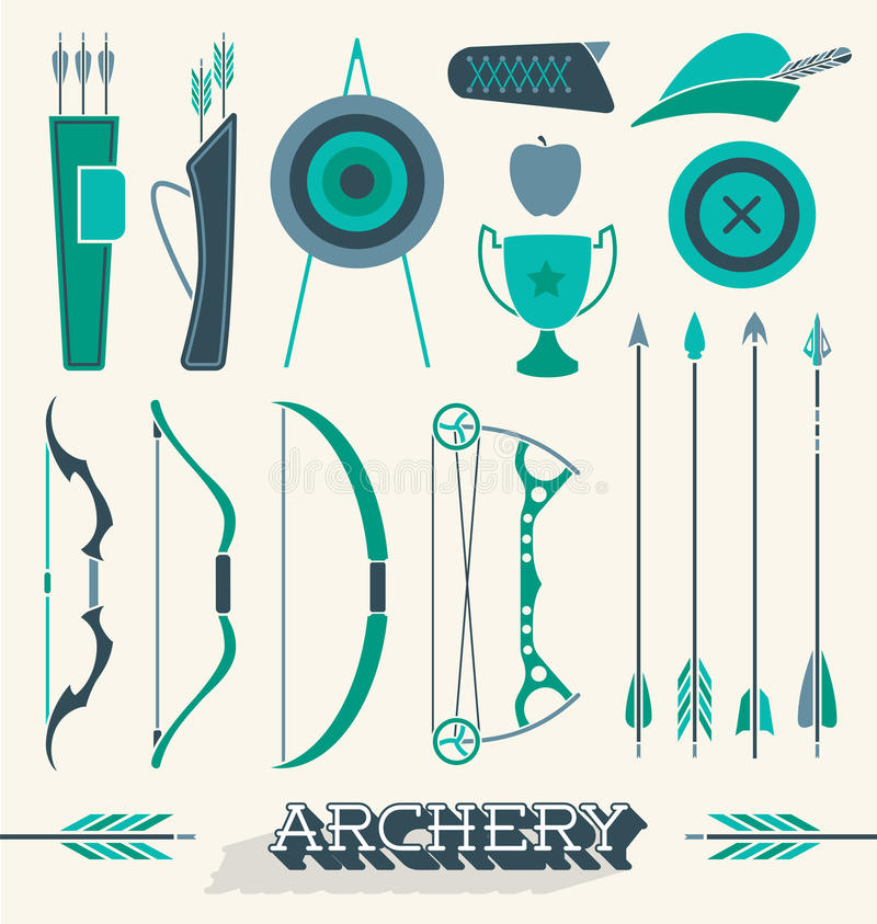 Free Vector Set: Archery Icons And Objects Royalty Free Stock Images - 40482279