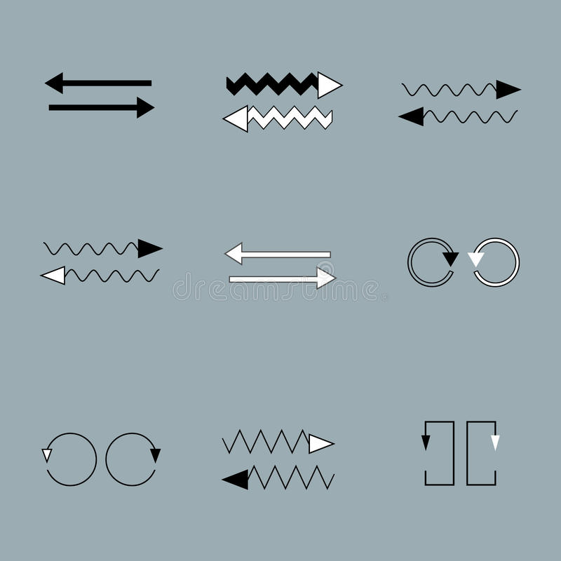 Vector Set of arrows on grey backround stock illustration