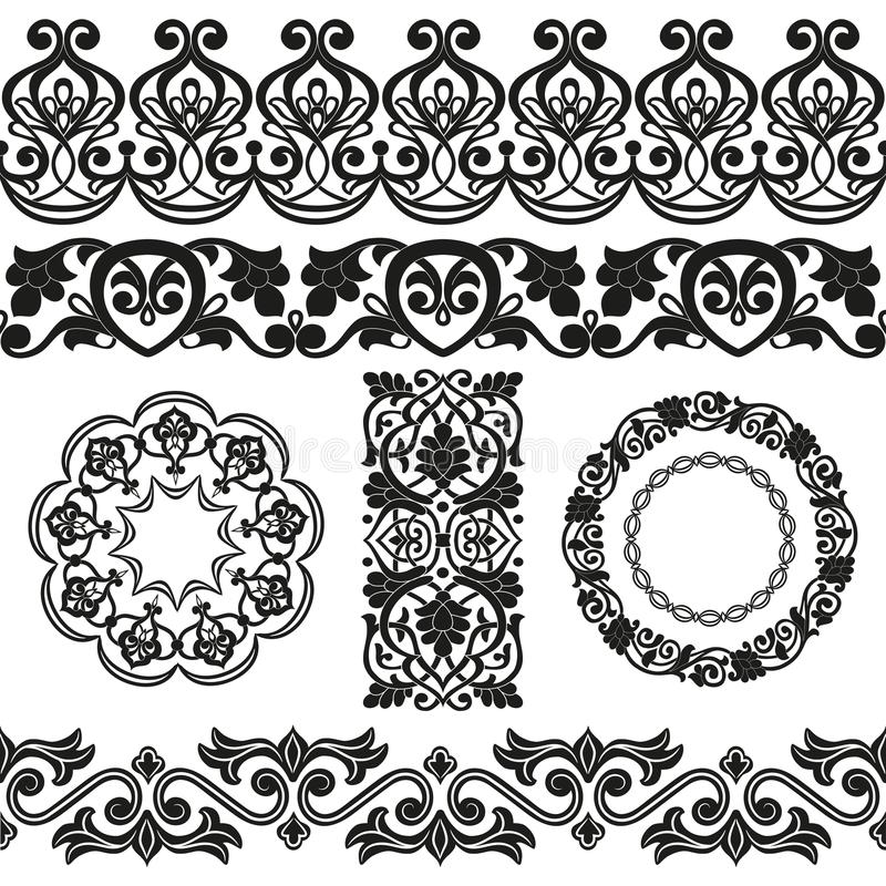 Vector set of Asian seamless tape, ribbon, round and single patterns in the form of cotton flower in Uzbek national style. stock illustration