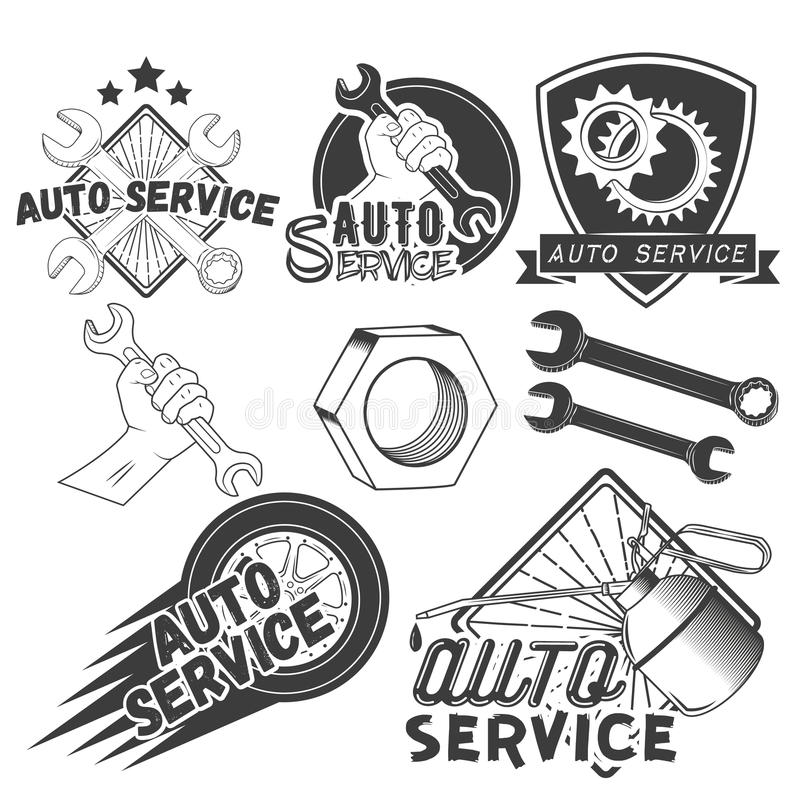 Vector set of auto service labels in vintage style. Car repair shop banners. Mechanic tools isolated on white background vector illustration
