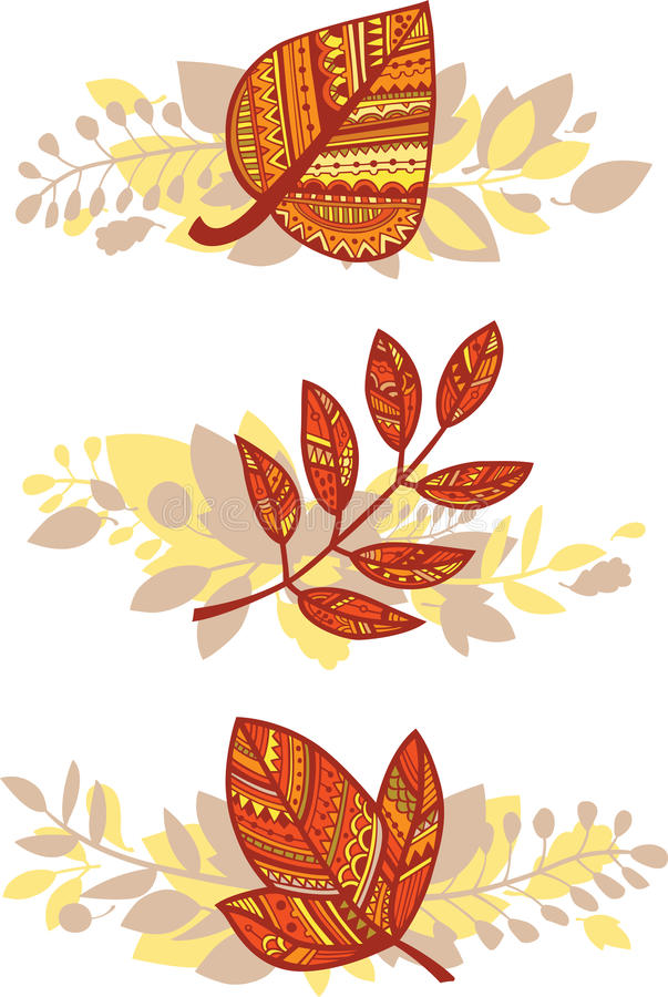 Download Vector Set Of Autumn Leaves Compositions Stock Vector - Image: 26915508