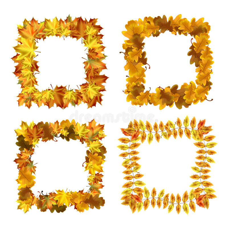 Vector Set Of Autumn Leaves Square Frames. Stock Vector ...