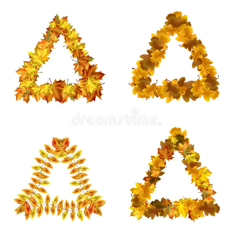 Vector Set Of Autumn Leaves Triangle Frames Stock Vector ...