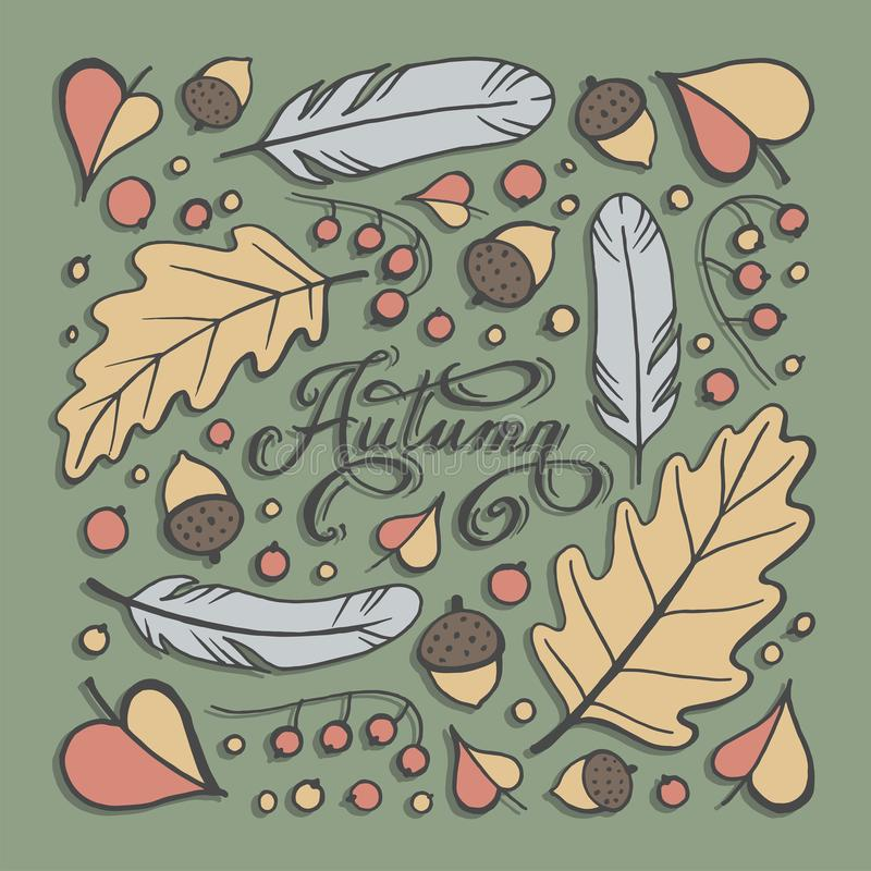 Vector set of autumn themed retro design elements Fall vintage elements Everything for the autumn text decoration royalty free illustration