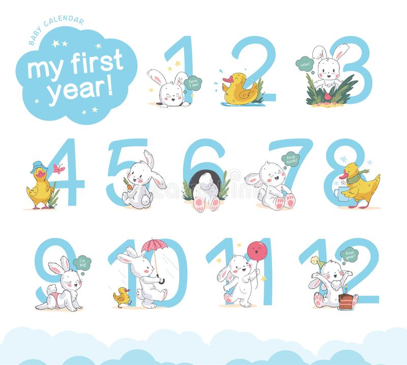 Vector set of baby calendar numerals/numbers with cute little bunny & duck walk, smile, sit isolated on white background. stock illustration